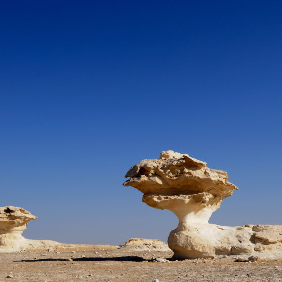 Oasi di Farafra.  Strutture nel bedrock calcareo nel Deserto Bianco.
