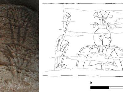 Abu Erteila (Sudan), Kom II, Ambiente K 902, Rocchio di colonna recante l'immagine incisa del dio Hapy. Arenaria (foto Baldi, disegno Lebedev).