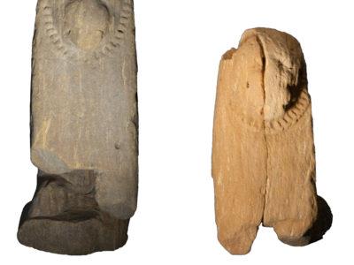 Abu Erteila (Sudan), Kom II, Tempio K 1000, Ambiente K 1104, Statuette di leoni. Arenaria (foto Lebedev e Lobban).