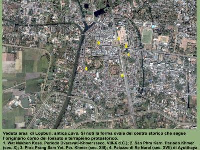 Veduta aerea di Lopburi, antica Lavo (Google Earth)