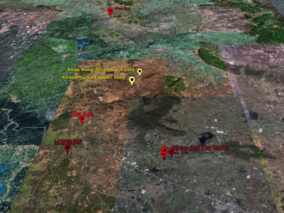 Immagine satellitare della Piana di Lopburi con la localizzazione dei siti indagati dal Progetto LoRAP (Google Earth)