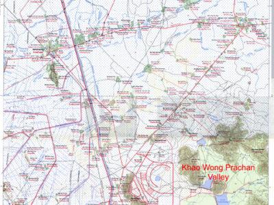 Fig. 1 Provincia di Lopburi (in alto a sinistra) con carta topografica del transetto oggetto delle nostre indagini e localizzazione del sito di Tha Kae.