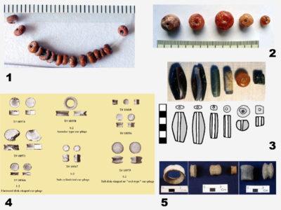 Fig. 11 Monili di importazione/imitazione indiana (sec. III a.C.-III d.C.): 1. Perline di vetro del tipo trade winds; 2. Perle di corniola; 3. Perle di agata, corniola e serpentino; 4.-5. Ornamenti di terracotta da orecchio.