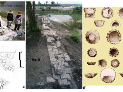 Fig. 15 Op. 2 evidenze di periodo Dvaravati : a-b) Struttura A in fase di scavo (1989) e pianta finale; c) vista E-O della struttura B probabilmente parte di una grande piattaforma distrutta sul suo lato nord dai lavori cava; d) lampade votive di terracotta.