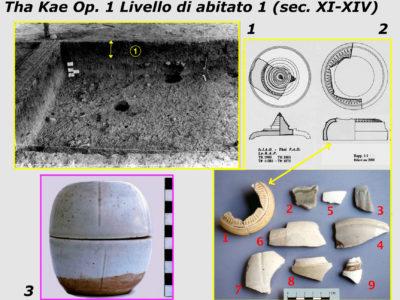 Fig. 16 Op. 1 Livello di abitato 1 (sec. XI-XIV): 1-2. frammenti di vasellame rituale di gres invetriato Khmer e di coeva porcellana cinese; 3. (rinvenimento casuale nella zona di cava) scatola di gres con vetrina qingbai dalle fornaci cinesi della prov. di Fujian (sec. XIII) (dono LoRAP al Museo Nazionale del Palazzo di Re Narai)