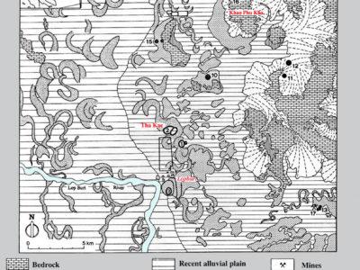 Fig. 4 Transetto della carta geomorfologia della Piana di Lopburi elaborata dal nostro geomorfologo, M. Cremaschi (Università di Milano).