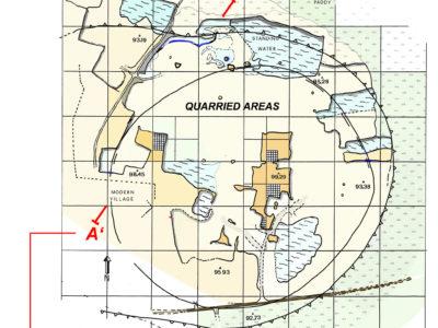 Fig. 5 Pianta dei resti di deposito archeologico come rilevato nel 1989 e sezione stratigrafica del sito con il fossato e terrapieno del grande recinto e il fossato di quello più piccolo.