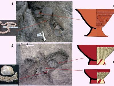 """Fig. 8 Sepolture di Età Neolitica (ca. 1800-1100 a.C.). 1. Sezione B Tomba 3: a) collana di perline di conchiglia anadara; b) calice in ceramica a tempera minerale e decoro """"inciso-e-impresso"""" a meandri. 2. Op.1 Tomba 10: a) offerta di una valva di 'vongola d'acqua dolce' (Fam. Unionidae) e perle di conchiglia tridacna; b) calici a tempera vegetale con spesso ingobbio rosso brunito e decoro geometrico dipinto in rosso."""