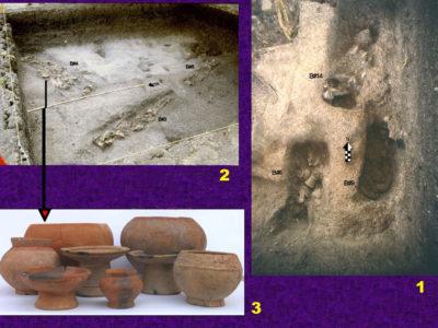 Fig. 4 Phu Noi 1994 vedute del livello necropolare della tarda Età del bronzo (ca. 800-500 a.C.). 1) Northern Trench 2; 2) Northern Trench 3; 3) vasi di ceramica dal corredo della tomba 4 dopo il restauro.