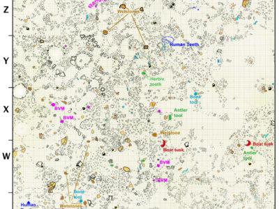 Fig. 8 Il rilievo mette in evidenza la distribuzione casuale dei frammenti di artefatti della tarda Età del ferro (ca 200-400/500 d.C.) e la regolarità dei cluster di frammenti ceramici pertinenti alle ultime sepolture del sottostante livello necropolare.