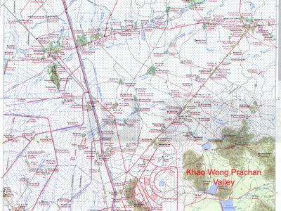 Fig. 1 Provincia di Lopburi (in alto a sinistra) con carta topografica del transetto oggetto delle nostre indagini e localizzazione del sito di Phu Noi.