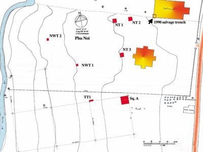 Fig. 2 Pianta del sito di Phu Noi con la localizzazione delle trincee di scavo.