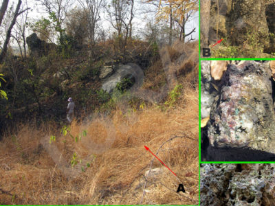 Fig. 1. A. Veduta dell'ampia depressione sul fianco dell'inselberg di Khao Sai On (KSO) probabile evidenza di una miniera a cielo aperto; B. ossidazioni di minerale di rame rilevate nella stessa area.