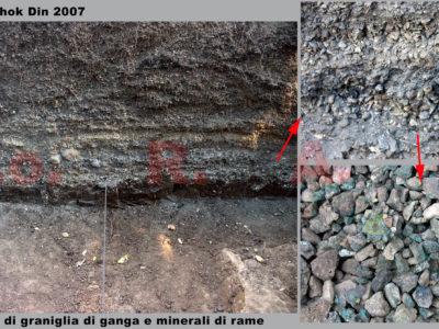 Fig. 4. KSO-Khok Din, Square A, testimonianza dell'attività mineraria di arricchimento del minerale è fornita dalla successione di lenti sovrapposte di graniglia di ganga e residui impuri di ossidi e solfuri di rame.