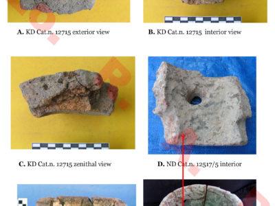 Fig. 11. Khok Din: uno dei numerosi frammenti di 'collari forati' di terracotta dal deposito industriale di Khok Din (A-C) e gli unici, fino a oggi, esemplari completi rinvenuti a Noen Din (D, F) e (E) a Nil Kham Haeng (Valle del Khao Wong Prachan, Lopburi).