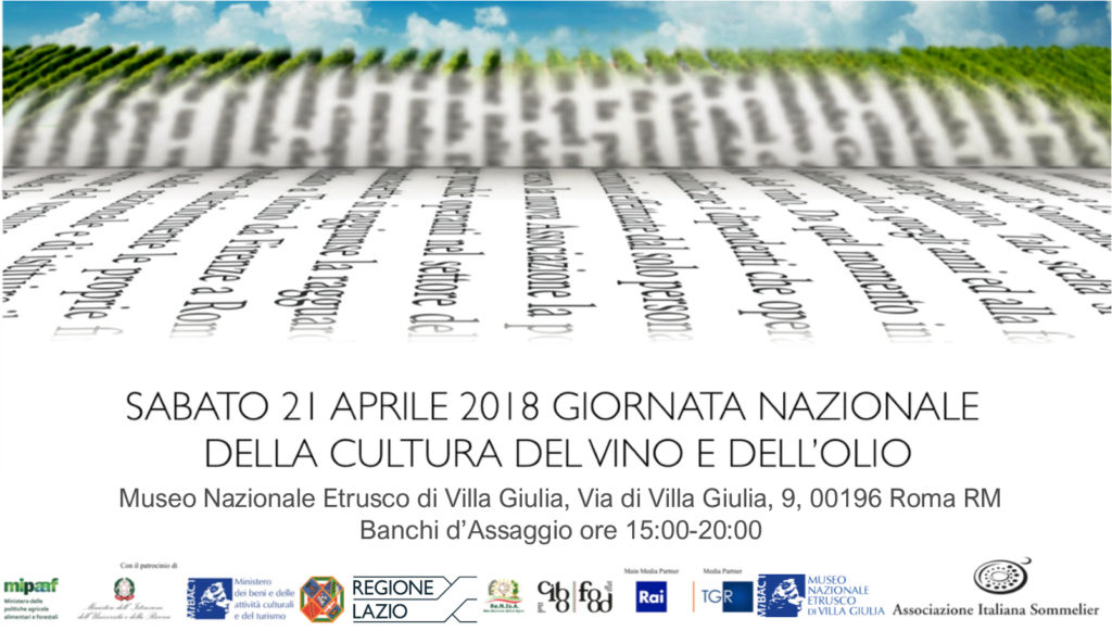 Locandina Giornata Nazionale della Cultura del Vino e dell'Olio