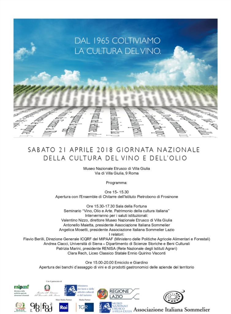 Seminario Giornata Nazionale della Cultura del Vino e dell'Olio