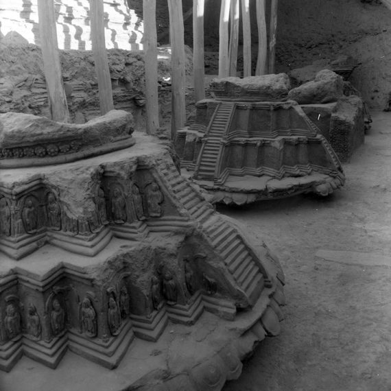 The Buddhist site of Tapa Sardar (1968) - row of stupas (with Stupa 7 in the fore) and thrones in the Upper Terrace. 7th-8th cent. CE
