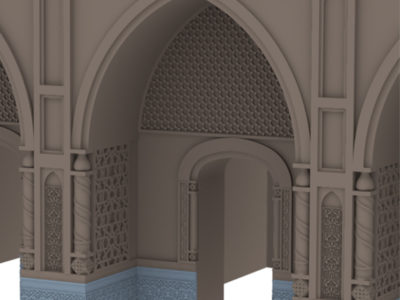 Hypothetical 3D reconstruction of the marble and terracotta decoration of antechambers of the Ghaznavid palace (Carlotta Passaro 2014)