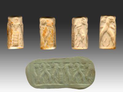 Sigillo cilindrico con repertorio figurativo tipico della glittica akkadica. Togolok 1, Bronzo Medio (2450-1900 a.C.).