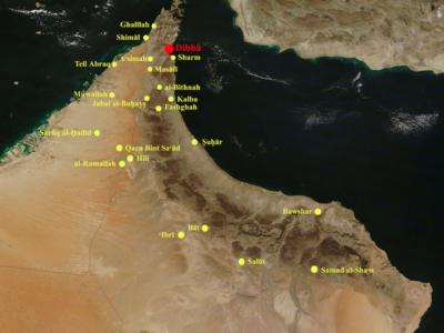 Mappa del nord-est della Penisola Arabica con la localizzazione di Daba e dei principali siti dell'Età del Ferro - Map of north-eastern Arabian Peninsula with location of Daba complex and main Iron Age sites.