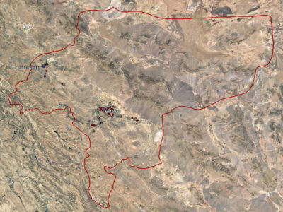 04 Foto satellitare con la localizzazione di alcune torri dei colombi nella regione di Isfahan.